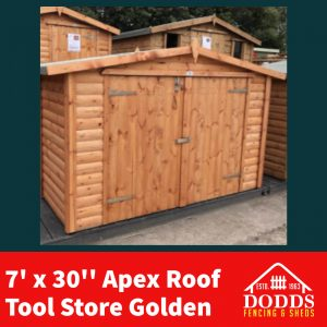 The Tool / Bike Stores are the perfect size to fit any size bicycle in or your garden tools. Lockable Hasp & Staple Fitted as Standard 16mm Log Lap Cladding Tongue and groove floor & Roof High Quality Solvent Based Treatment Heavy Duty Polyester roofing felt Free delivery & installation included.