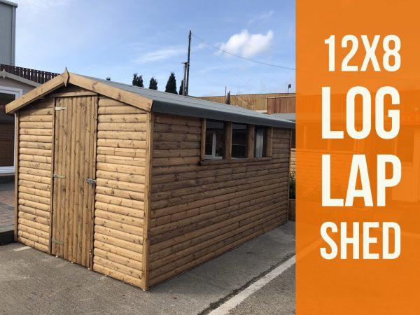 12×8 log lap light oak shed dodds