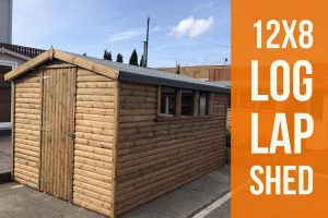 12x8 log lap light oak shed dodds