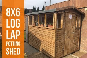 8x6 log lap potting shed