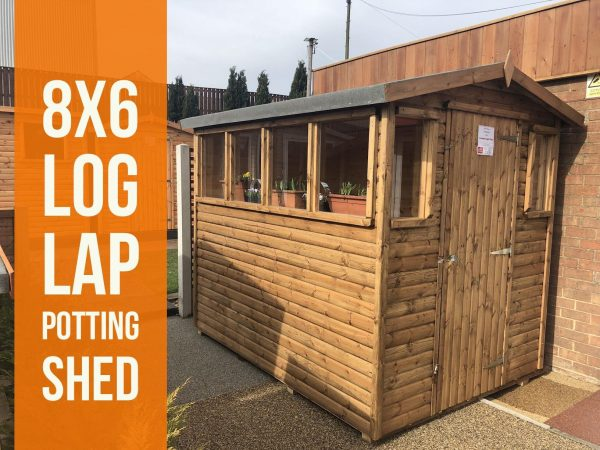 8×6 log lap potting shed