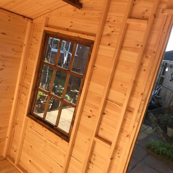 8×6 alpine summerhouse dodds fencing opening window