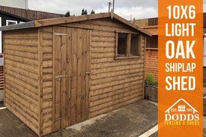 10x6 shiplap light oak dodds fencing and sheds