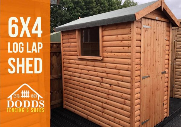 6×4 log lap shed dodds fencing