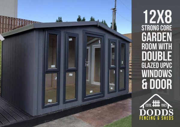12×8 strong core garden room grey dodds fencing sheds