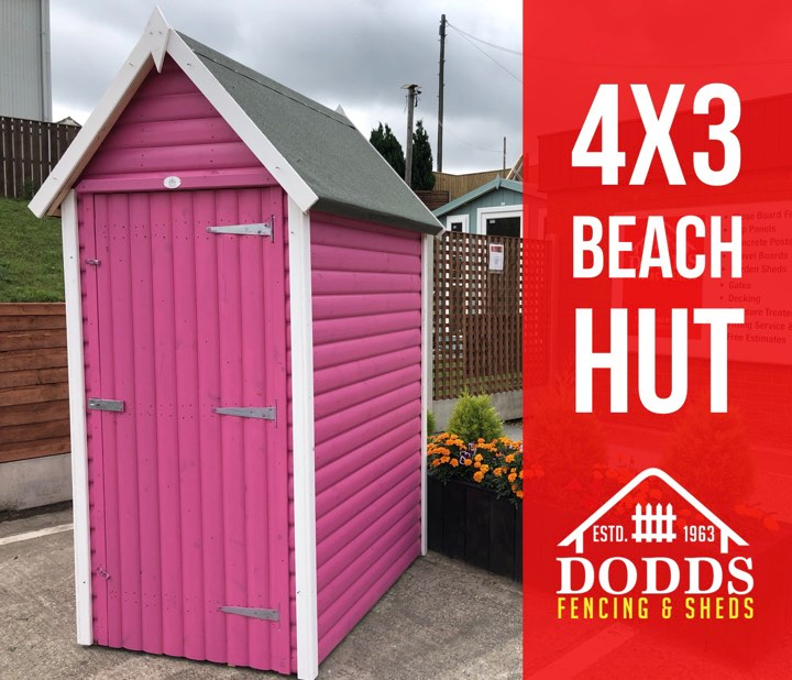 4×3 beach hut pink dodds fencing sheds