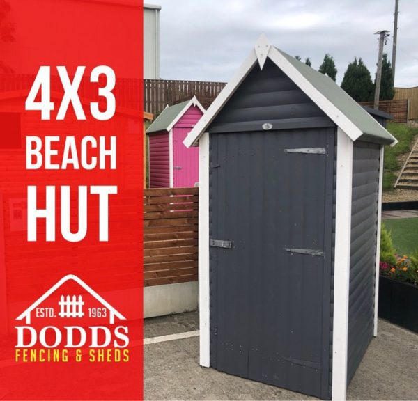4×3 beach hut slate grey dodds fencing sheds