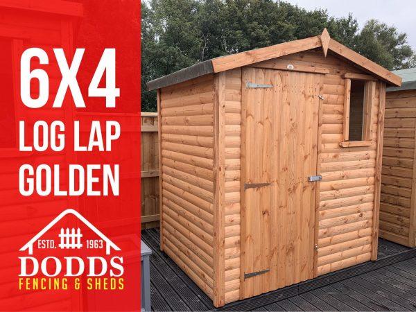 6×4 log lap garden shed dodds