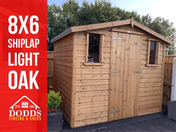 8X6 SHIPLAP LIGHT OAK DODDS FENCING SHEDS