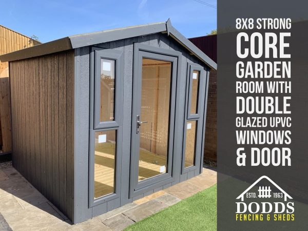 8X8-STRONG-CORE-GARDEN-ROOM dodds fencing sheds grey apex roof