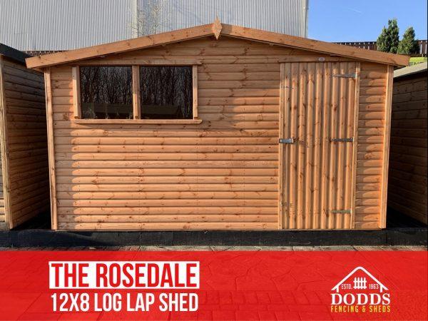 the rosedale 12×8 log lap dodds shed