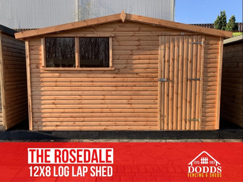 the rosedale 12×8 log lap dodds shed