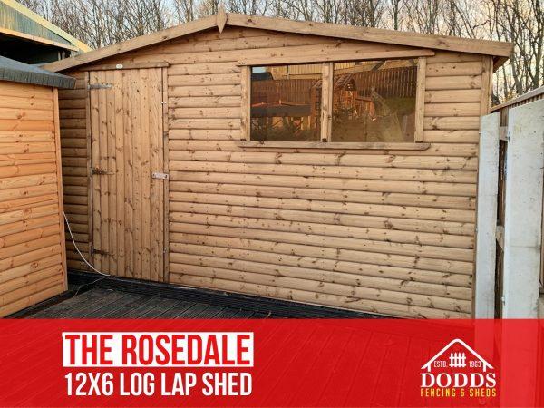 the rosedale 12×6 log lap dodds shed