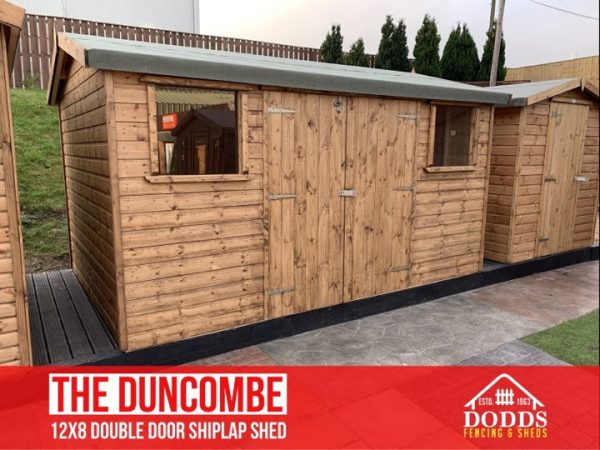 the duncombe 12×8 double door shiplap shed