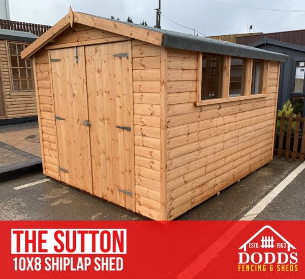 the sutton 10×6 shiplap dodds fencing shed