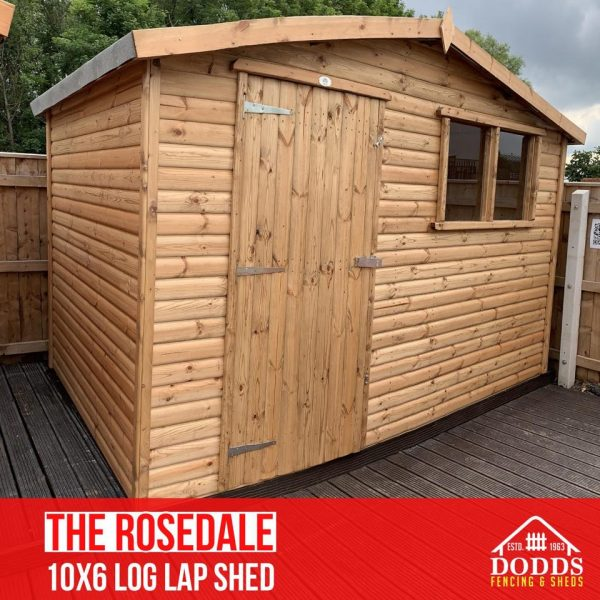 10×6 log lap rosedale dodds fencing shed