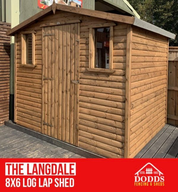 THE LANGDALE 8X6 LOG LAP DODDS SHED