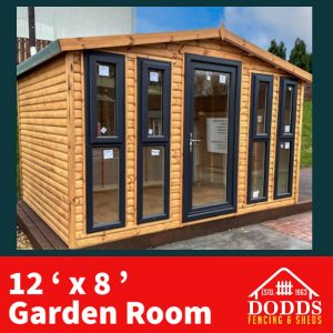 The 12′ x 8′ Log Lap Garden Room will provide an excellent space saving addition to your garden, providing a modern exterior and optimal storage capabilities. Key Features • All garden rooms have as standard: heavy duty polyester felt • Double Glazed windows and door • Breathable waterproof liner that allows the escape of moisture vapor • High quality preservative with wax additive that gives an outstanding water repellency • All floors and roofs are built to last as they are made from T&G redwood timber