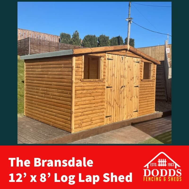 the bransdale 12×8 log lap Dodds shed (1)