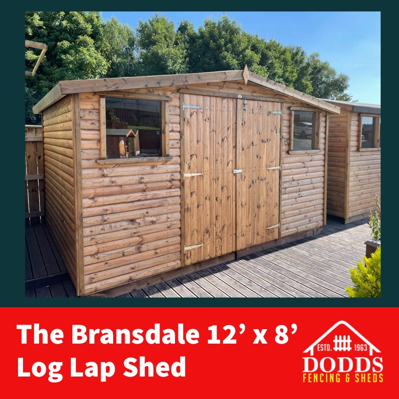 BRANSDALE 12X8 LOG LAP DODDS SHED