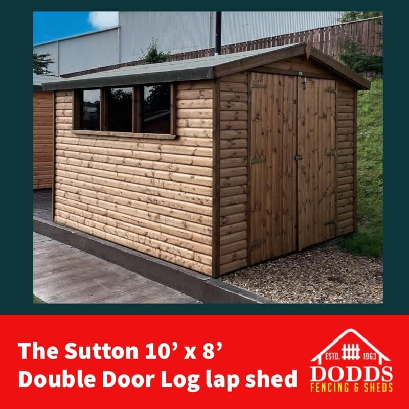 the sutton 10×8 log lap double door shed (1)